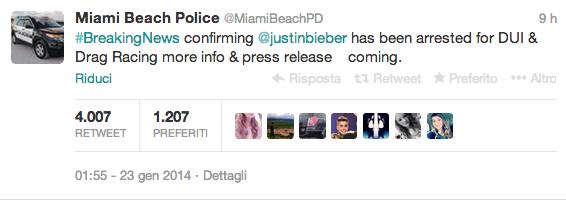 twitter police justin bieber